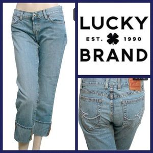 Lucky Distressed Sweet Dream Cuffed Crop Jeans 14